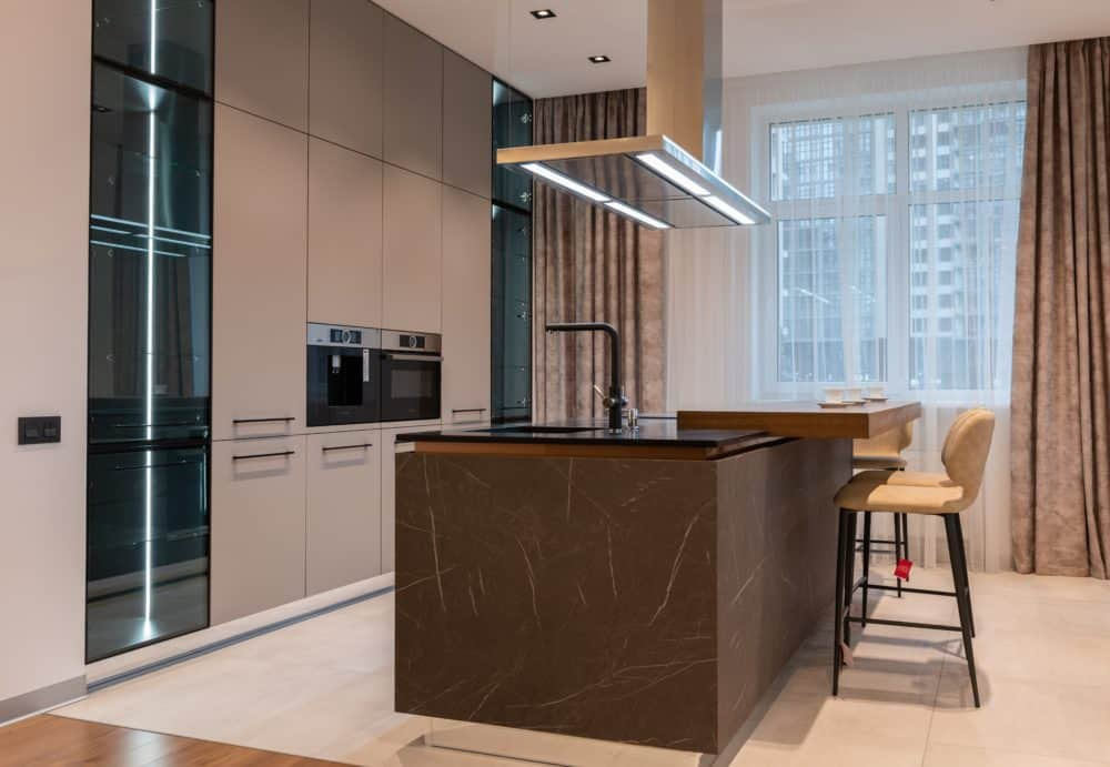 The interior of a modern kitchen in a newbuild home
