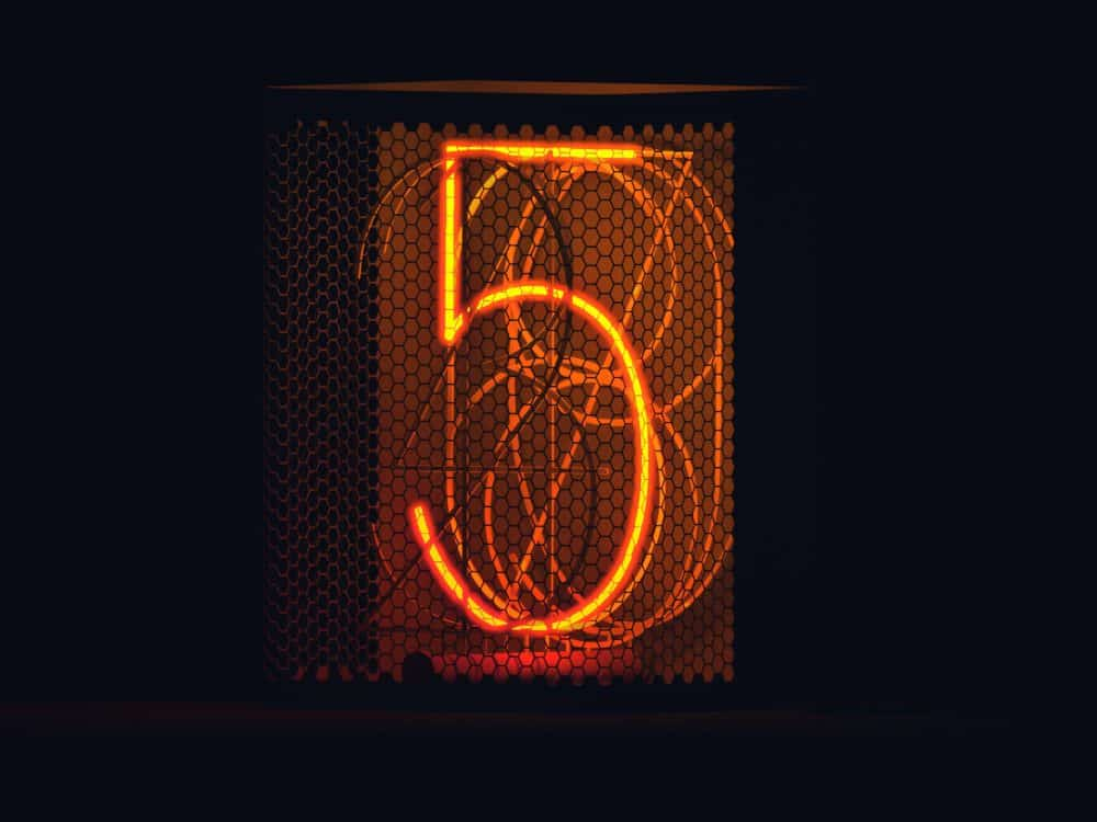 The number 5 in an electrical sign