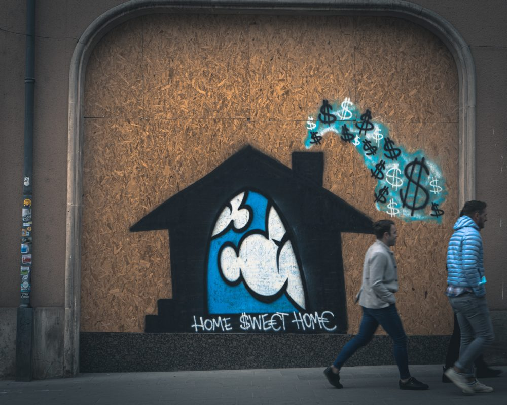 graffiti with the words home sweet home