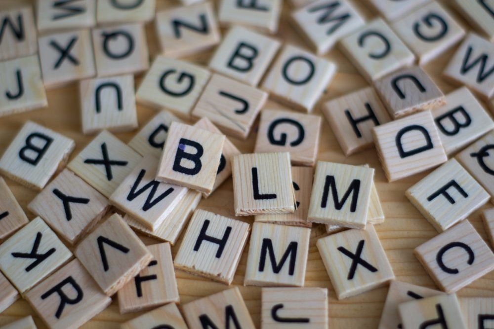 Wooden blocks with letters on them