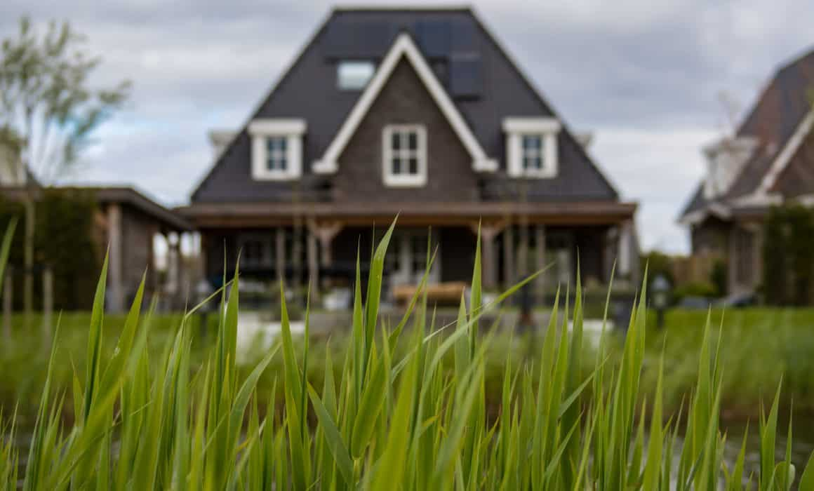 A house with green grass in front